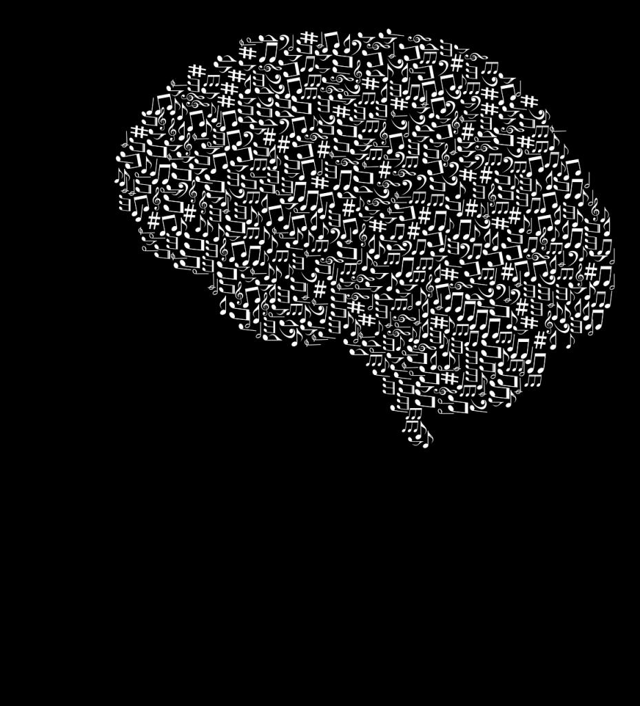 Immagine di una mente stilizzata al cui interno sono disegnate note musicali