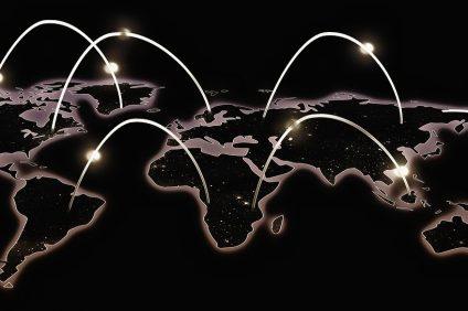 cartina stilizzata del mondo connesso