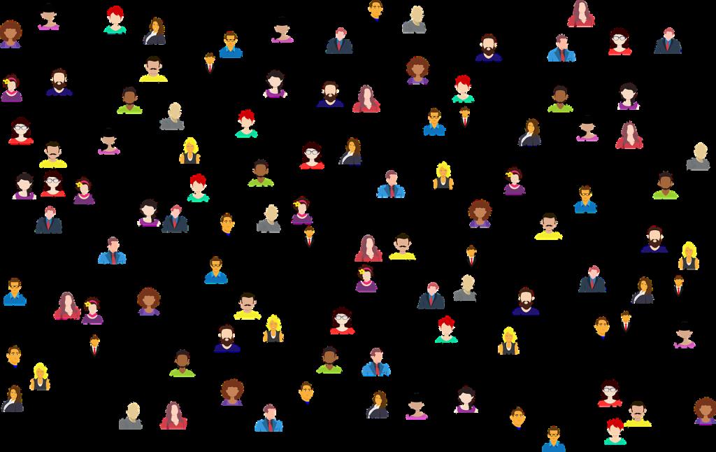 Le connessioni del mondo social attraverso un disegno in cui gli uomini appaiono connessi fra loro