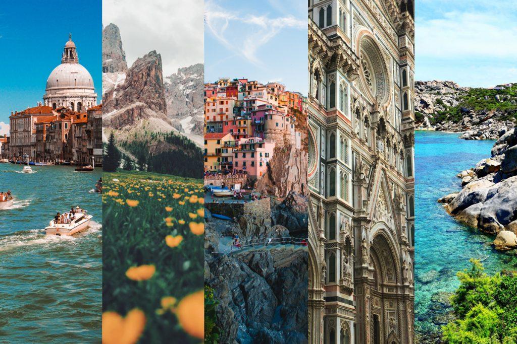 collage bellezze italiane venezia dolomiti cinque terre firenze sardegna