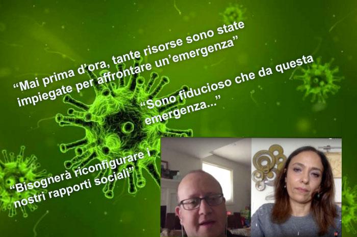 coronavirus - schermata video Saverio Stranges e Paola Stranges