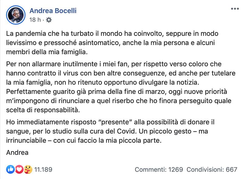 messaggio di Bocelli su facebook