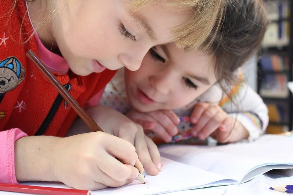 Scuole in azienda - due bimbi intenti allo studio