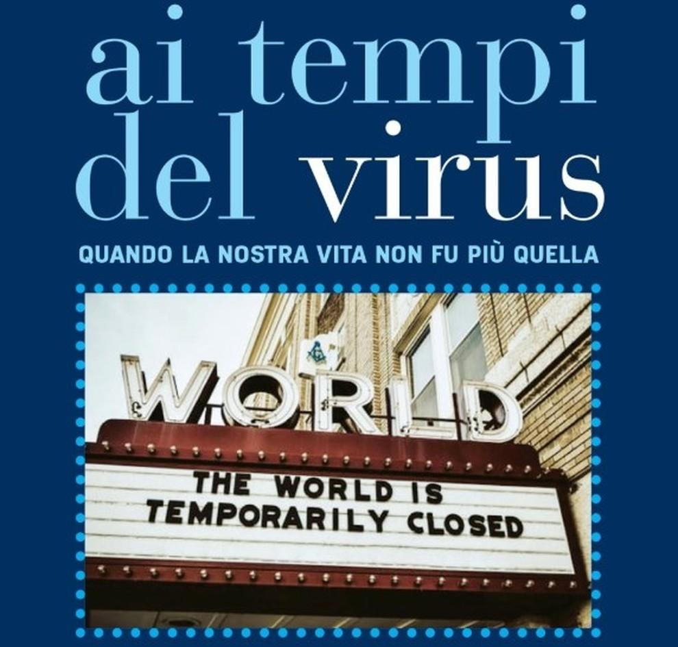 """virus - locandina del libro """"Ai tempi del virus"""""""