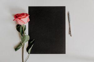 poesia italiana - una rosa, un foglio nero ed una penna