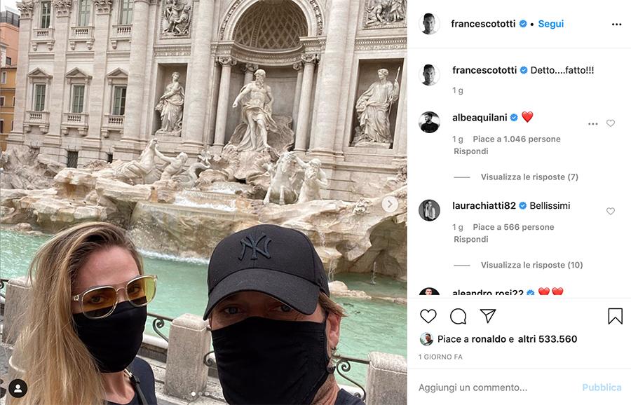 fantascienza - Francesco Totti e Ilary Blasi con mascherina