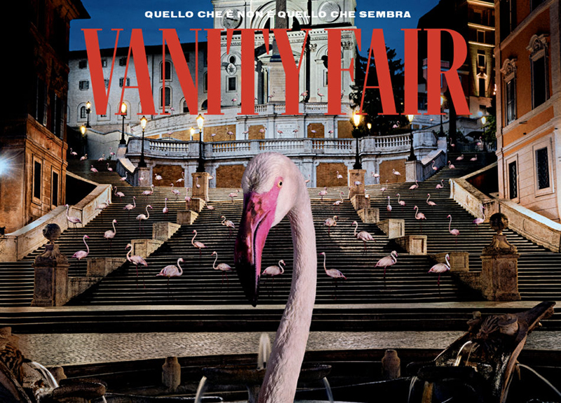 Natalie - dettaglio copertina Vanity Fair speciale, cicogna rosa in primo piano  - special Vanity Fair cover detail, pink stork in the foreground