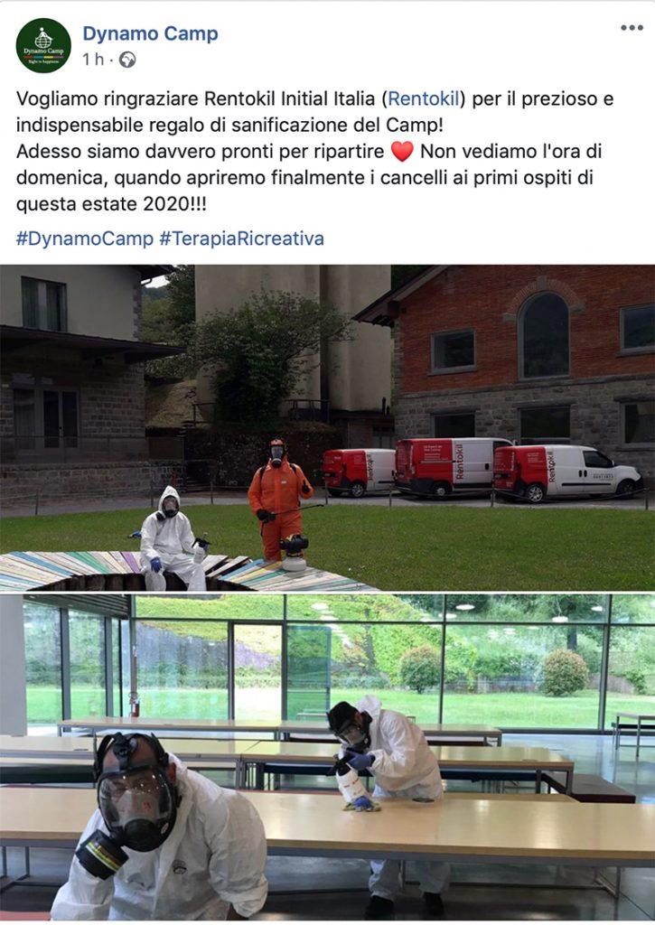 Dynamo Camp - post facebook momento della sanificazione - post facebook moment of sanitation