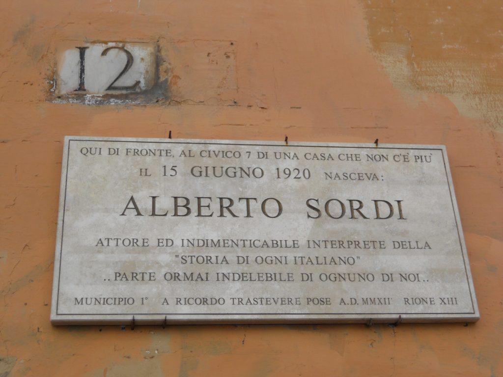 targa commemorativa di Alberto sordi