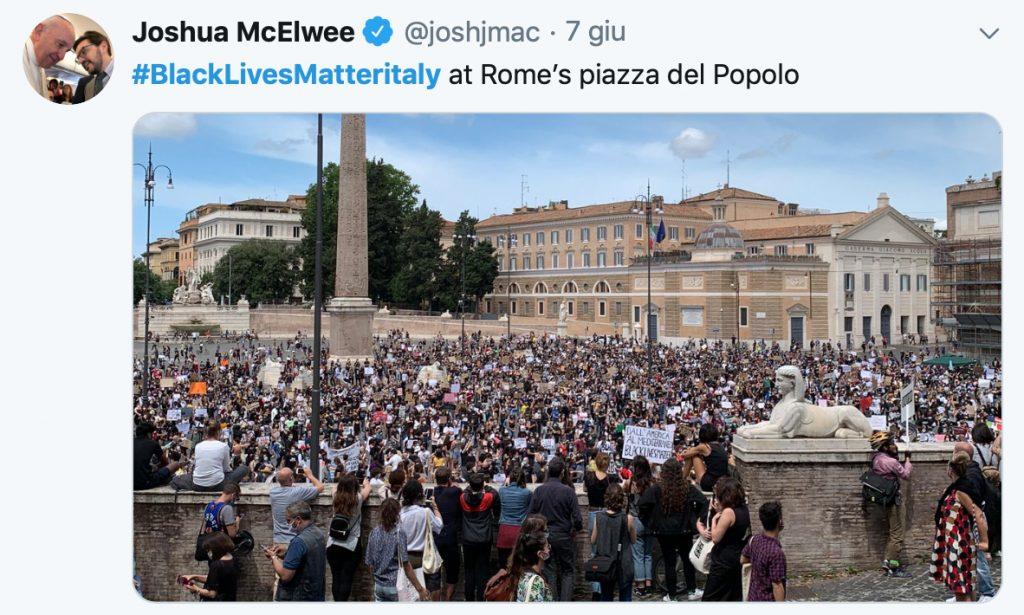 L'Italia in ginocchio - un twitter di Joshua McElwee