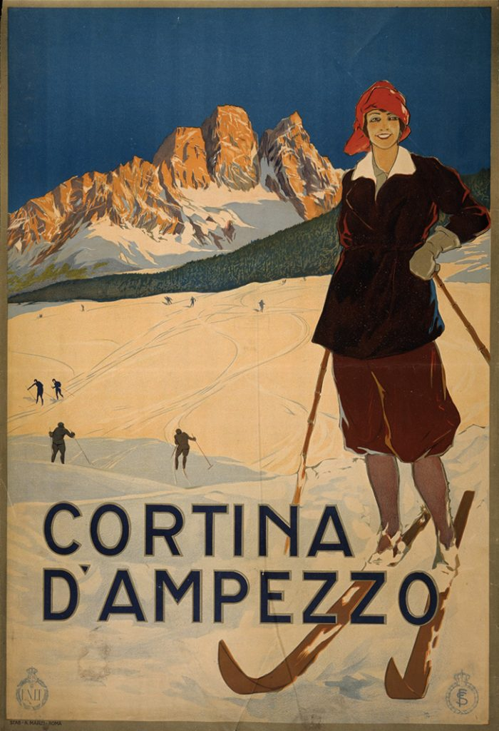 plastica - vecchia locandina di ragazza su montagna con gli sci - plastic - old poster of girl on mountain on skis