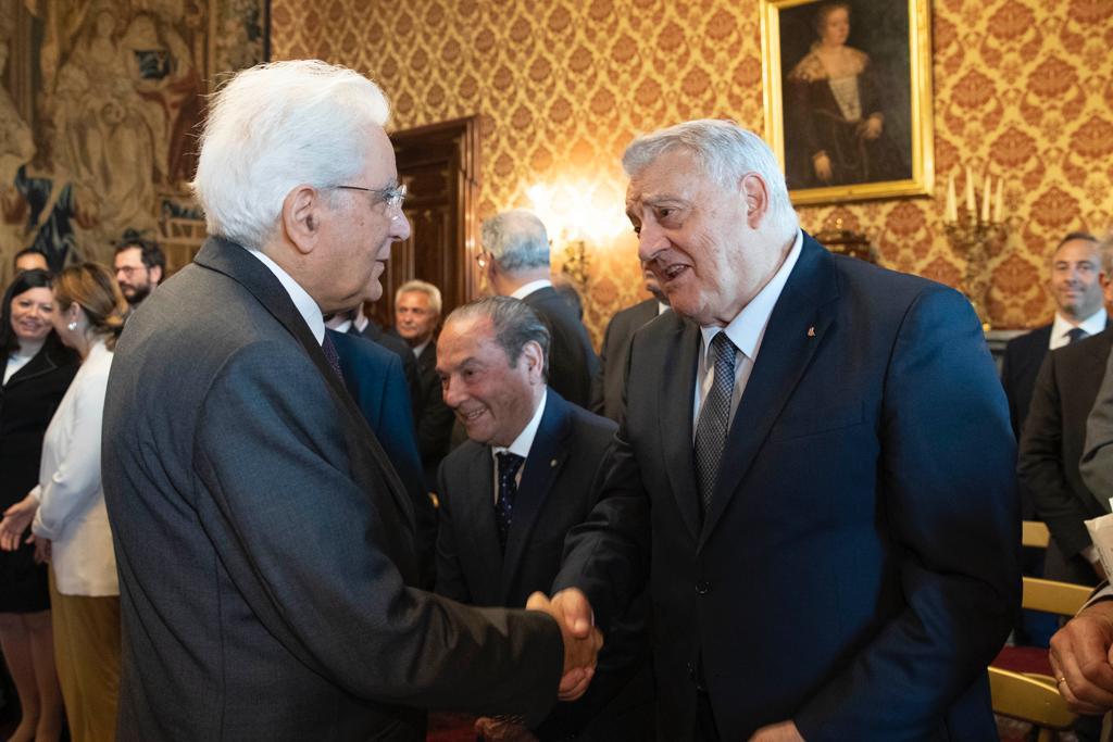 armani - Gerardo Sacco con il presidente Mattarella