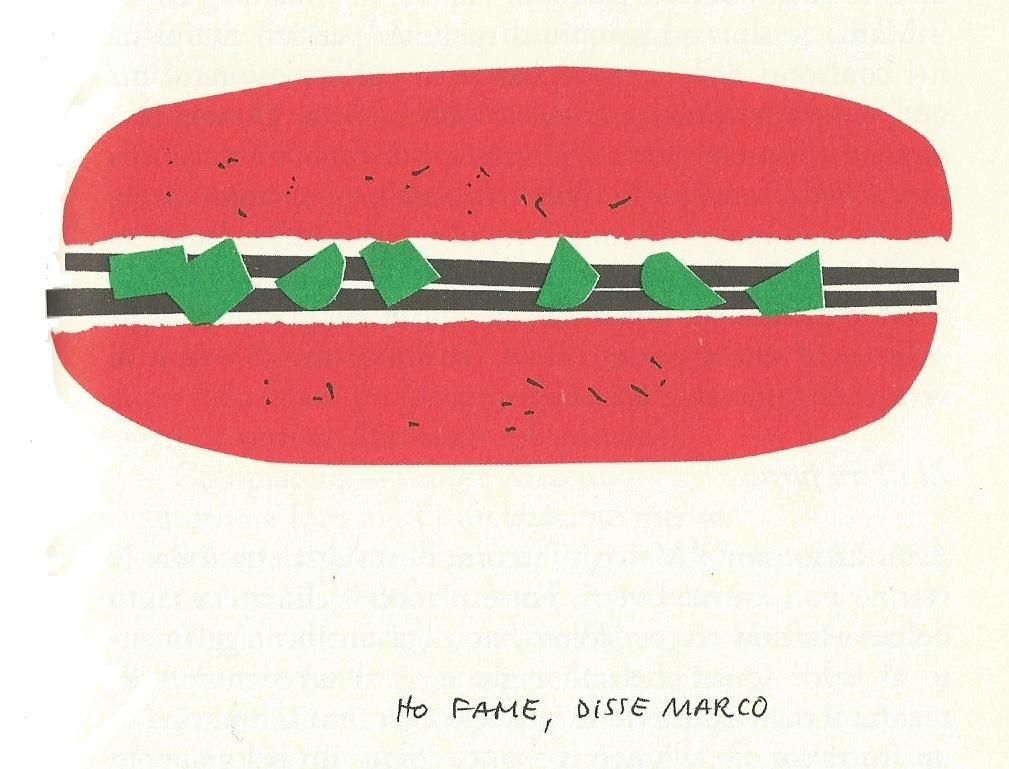 Munari - una immagine cartonesca di un panino - Munari - a cardboard image of a sandwich