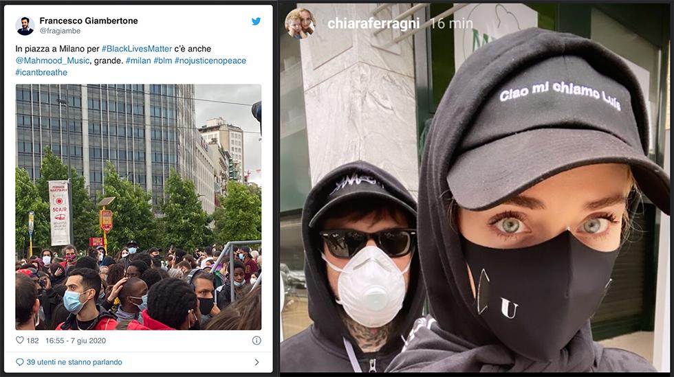 L'Italia in ginocchio - un tweet di Francesco Giambertone e una foto Chiara Ferragni e fedez con mascherina