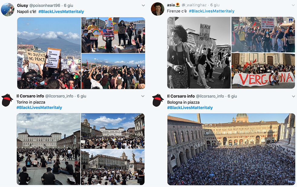 L'Italia in ginocchio - diversi tweet da napoli, roma, torino e bologna - Italy on its knees - several tweets from Naples, Rome, Turin and Bologna