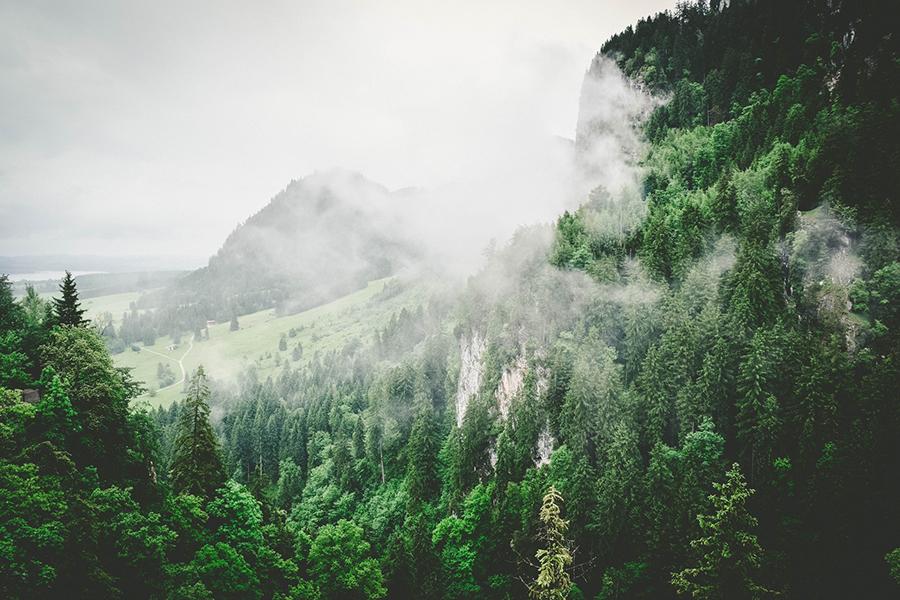 plastica - paesaggio di montagna con foschia