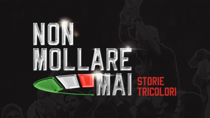"storie - manifesto dell'evento ""non mollare mai"" - stories - event poster ""never give up"""