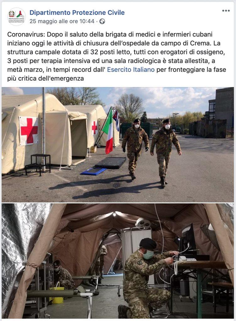 ospedale da campo - militari della Protezione Civile