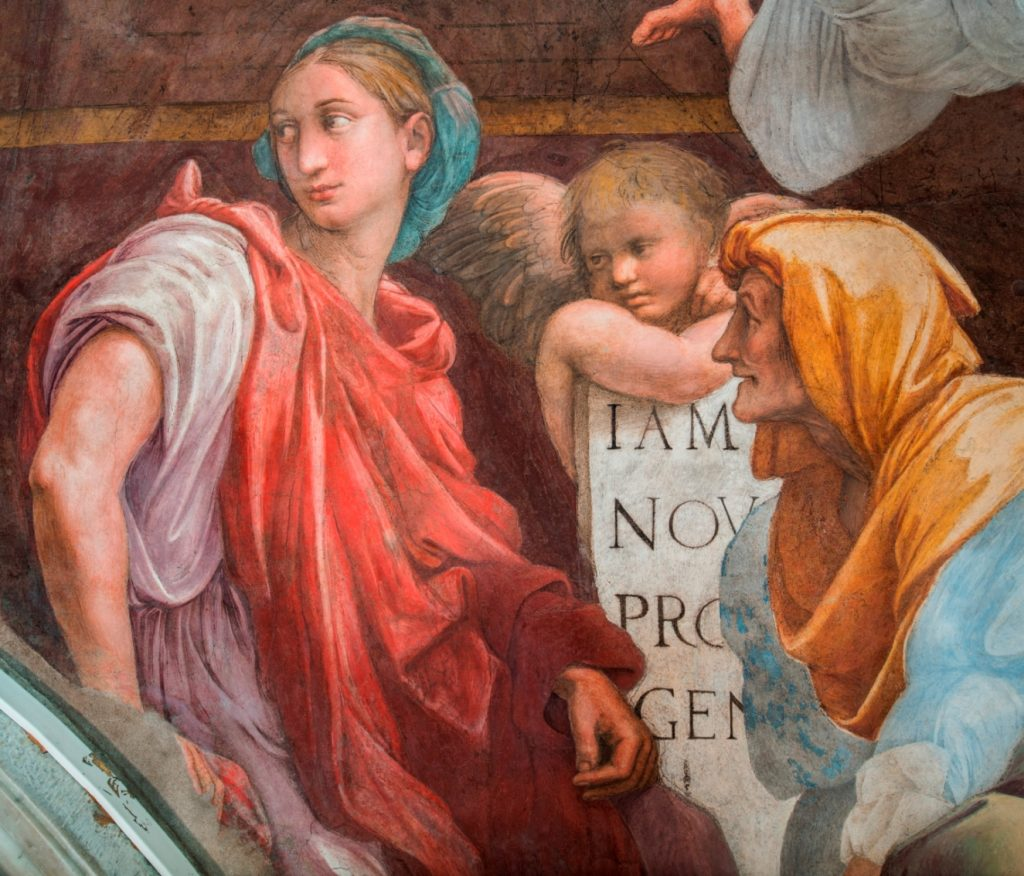 "Un particolare dell'affresco. Foto Andrea Jemolo / ""Sibille and angels"", detail. Photo by Andrea Jemolo"