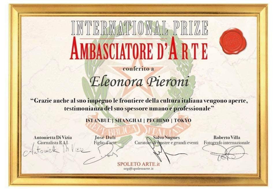 riconoscimento ambasciatore d'arte / recognition of art ambassador