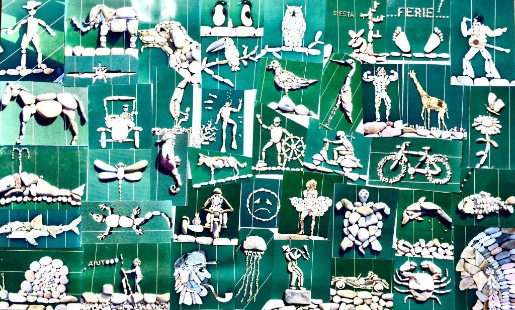 sassi d'autore - Un collage delle prime opere realizzate in spiagge e poi fotografate