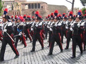 Il corpo dei carabinieri durante le cerimonie italiane