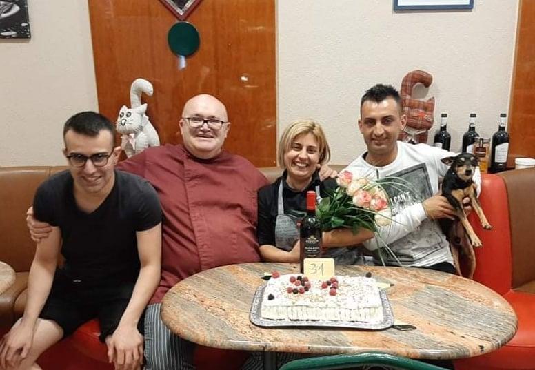 Moreno Pascon con la moglie e i figli