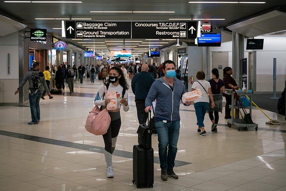 The Coronavirus emergency spacing at the airport
