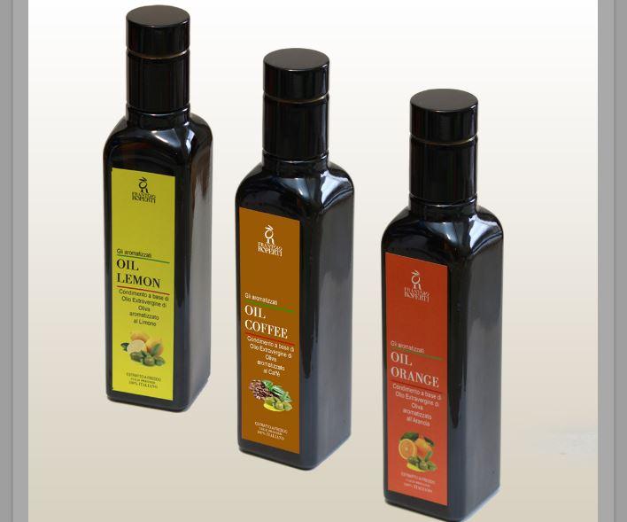 tre bottiglie di olio del Frantoio Roperti