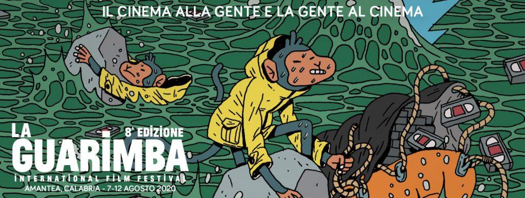 locandina de La Guarimba che raffigura una scimmia che salva dal mare agitato delle video cassette