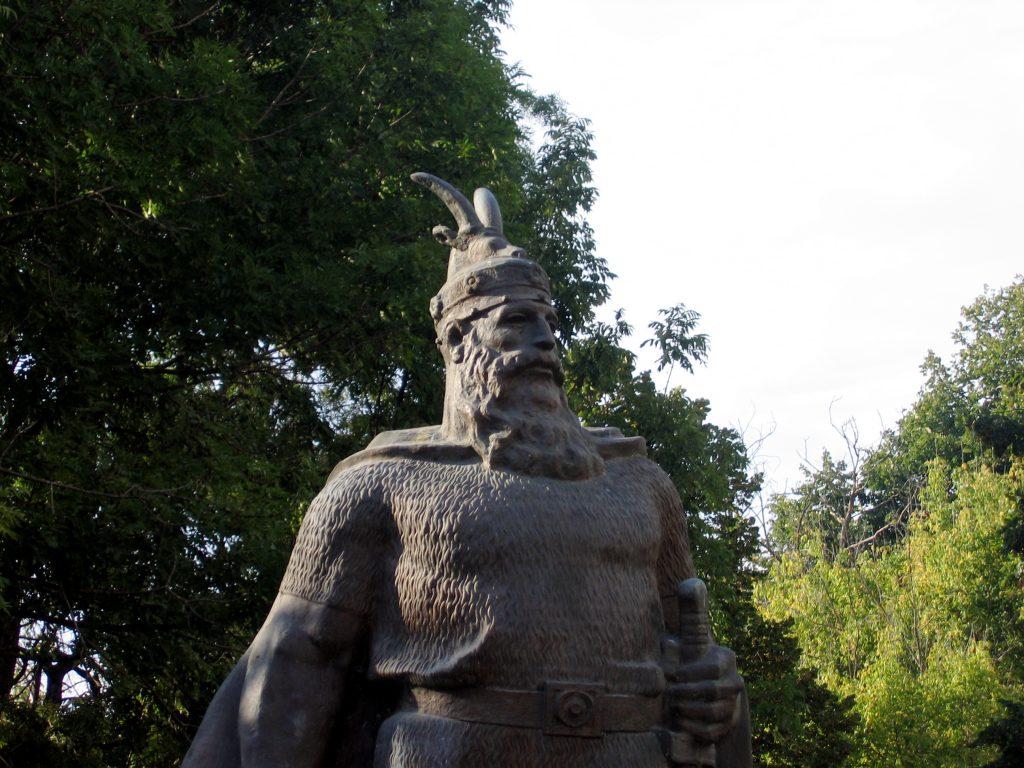 Monument to Skanderberg, an important Albanian hero for Civita