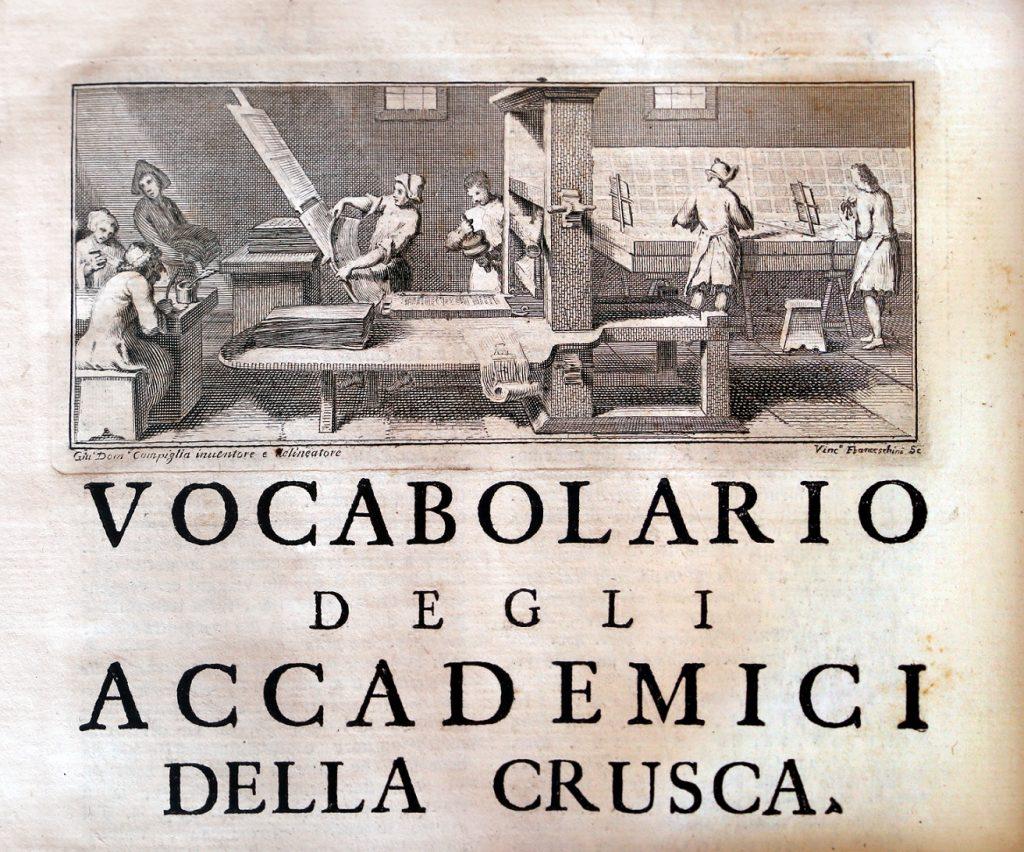 I verbi difficilissimi - antica immagine del vocabolario della crusca