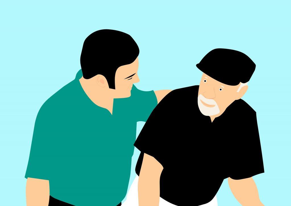 Alzheimer - vignetta di un uomo giovane che aiuta un anziano     puzzle con la scritta Alzheimer
