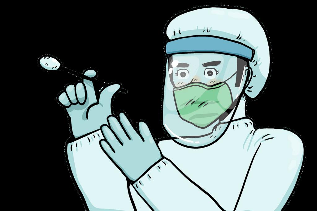 un medico pronto a eseguire un tampone per il test rapido