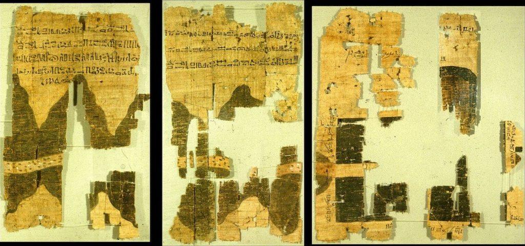 Museo Egizio di Torino - frammenti Mappa del papiro 1150 a.C.