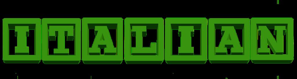 Lingua italiana - scritta verde italian