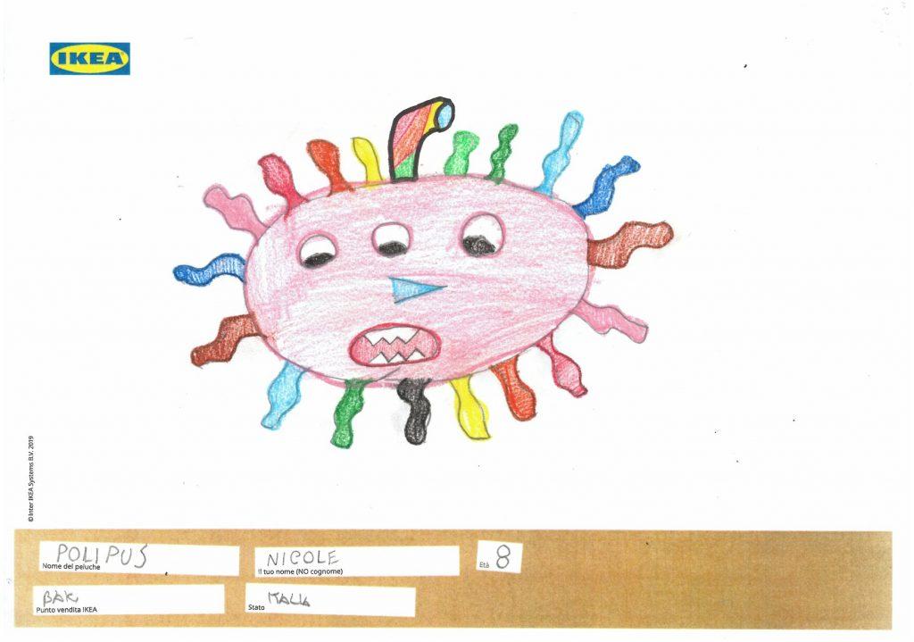ikea - uno dei disegni realizzati, un sole con 3 occhi