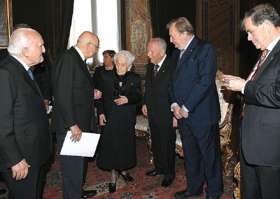 Rita Levi Montalcini con i presidenti della Repubblica