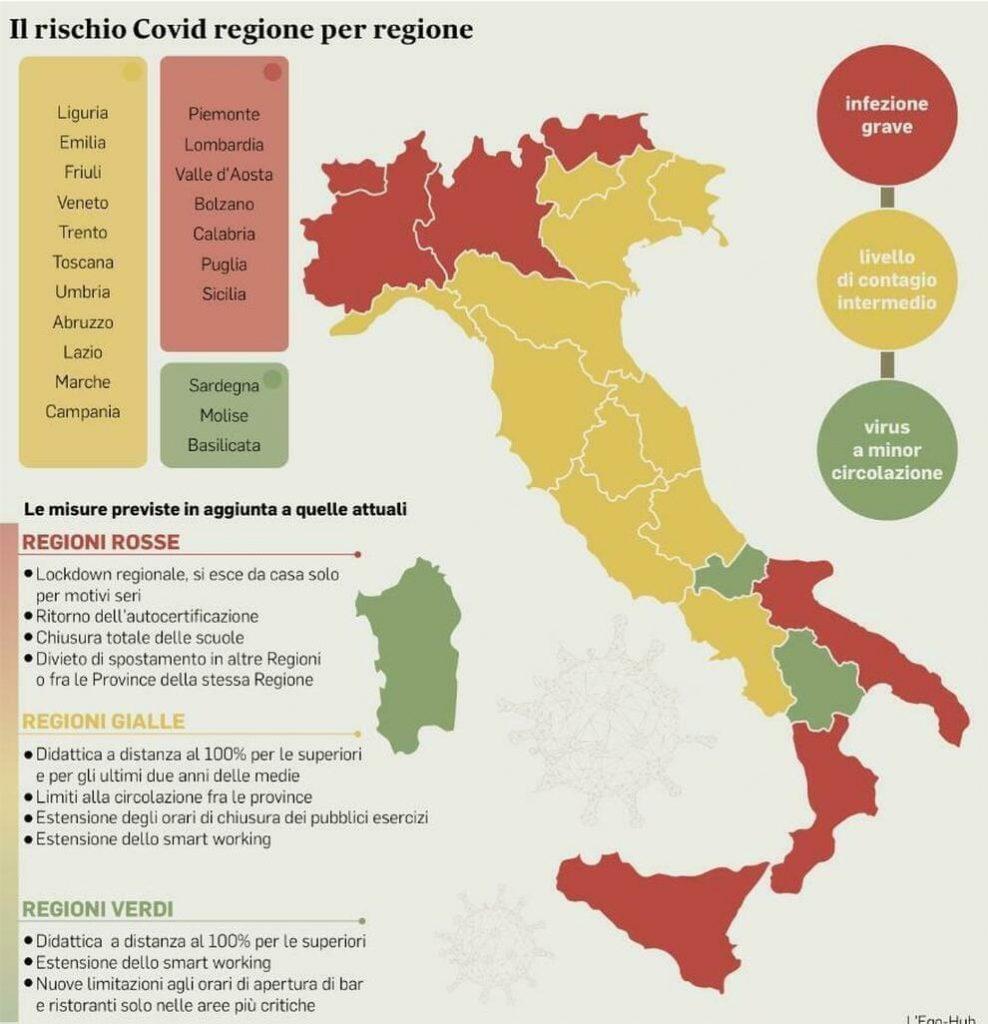 regioni a rischio - cartina dell'Italia con le regioni a rischio chiusura