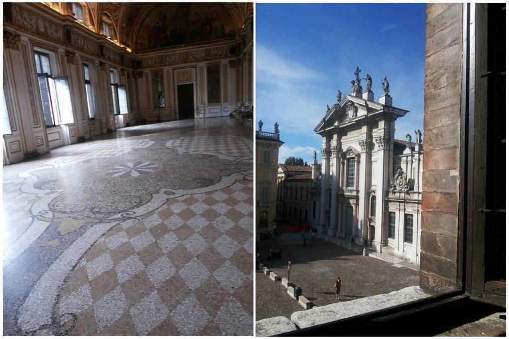Una sala interna e una veduta esterna della reggia di Mantova