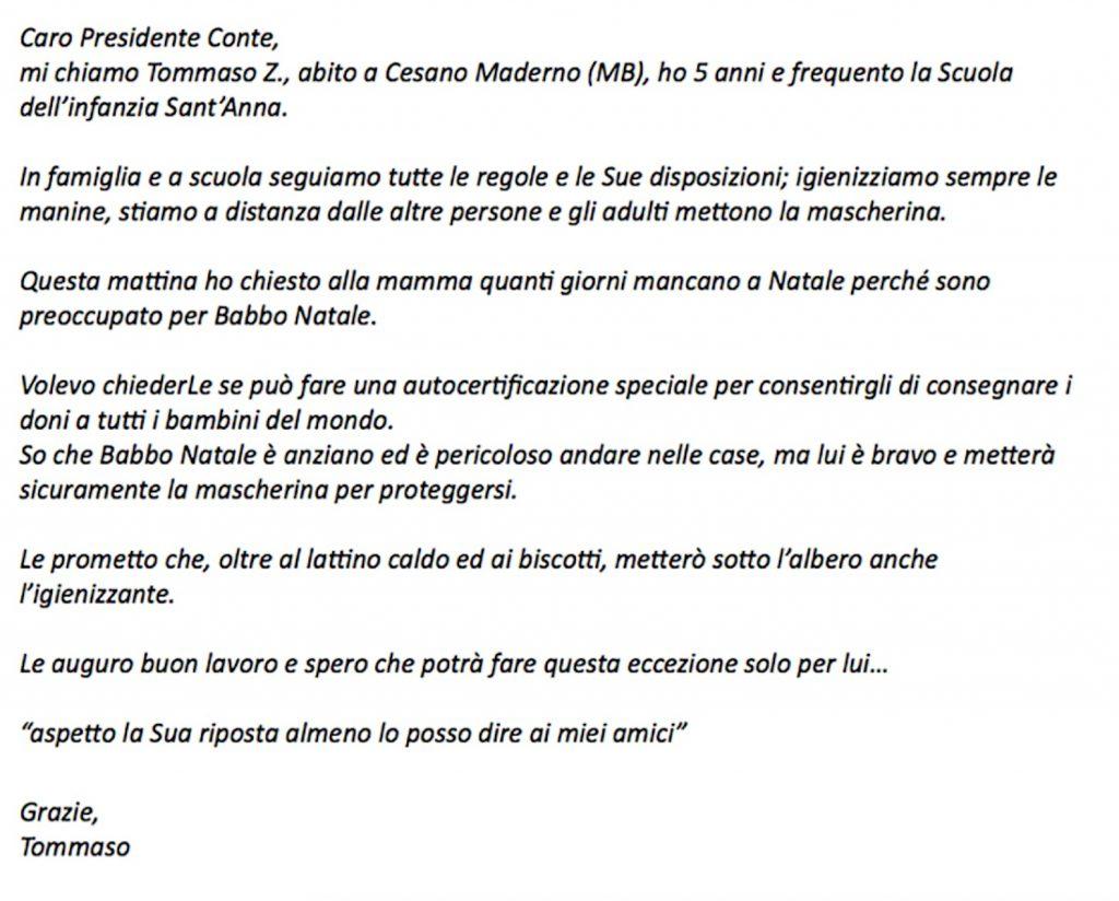 Babbo Natale - lettera di tommaso a Conte