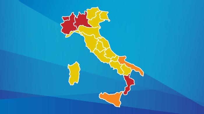 lockdown - cartina dell'italia con le regioni di colore rosso, arancione e giallo