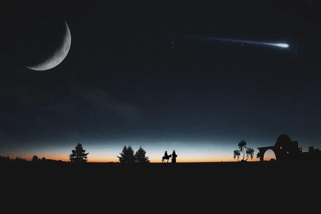 Cometa - Maria e Giuseppe seguono la stella cometa verso Betlemme