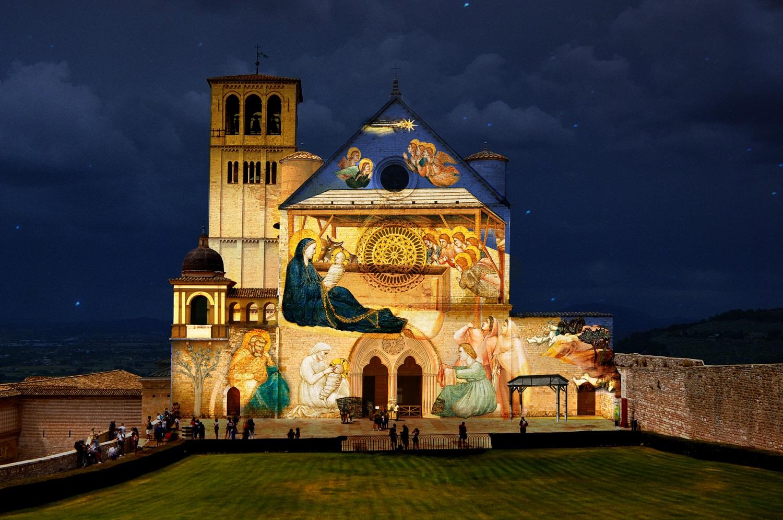 Il presepe proiettato ad Assisi