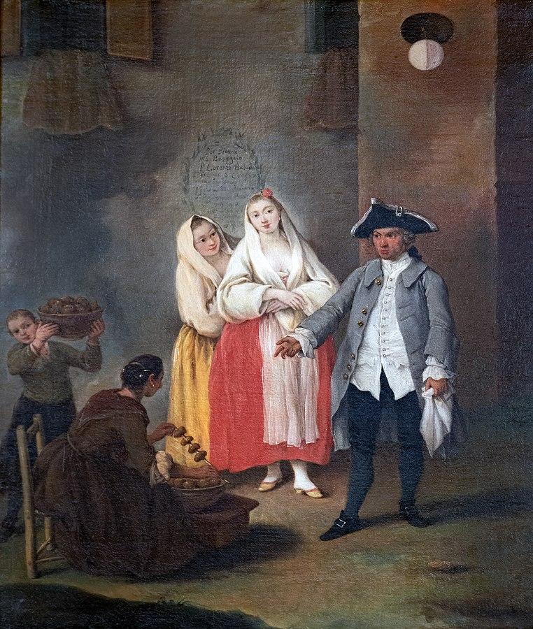fritole - quadro, Ca' Rezzonico - La venditrice di frittole - Pietro longhi 1755