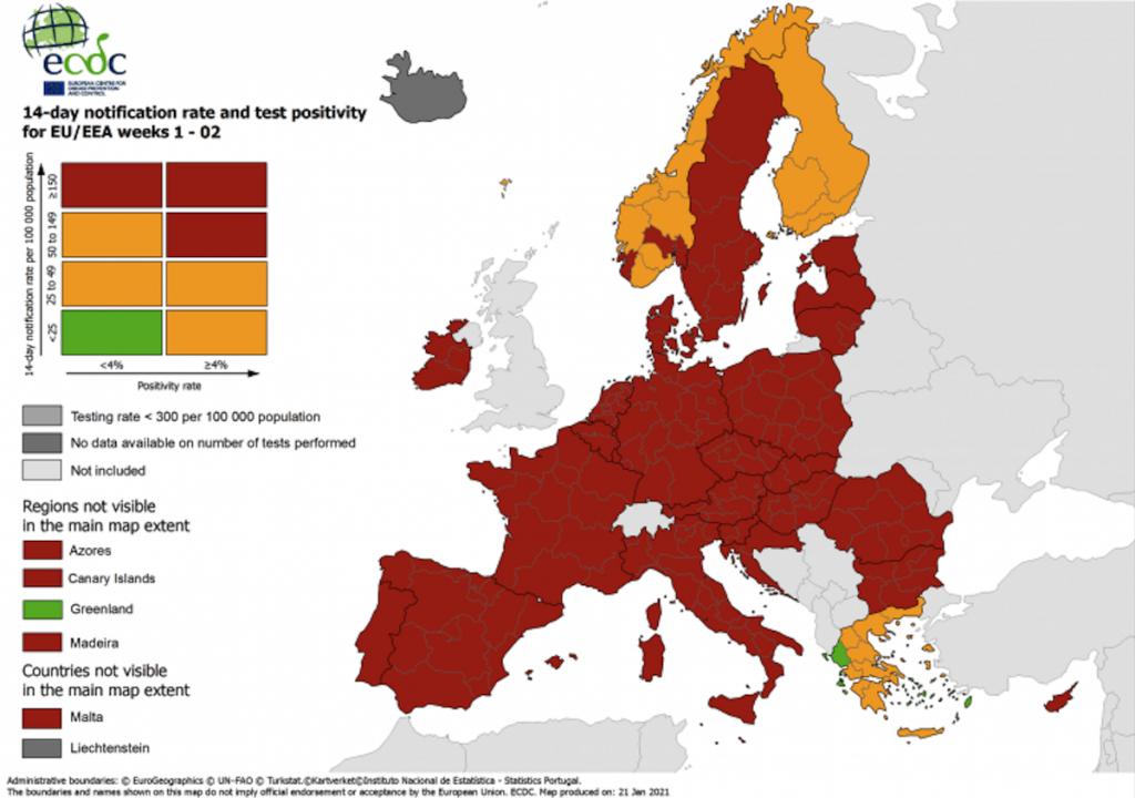 Zone rosso scuro in Italia: mappa dei contagi in Europa