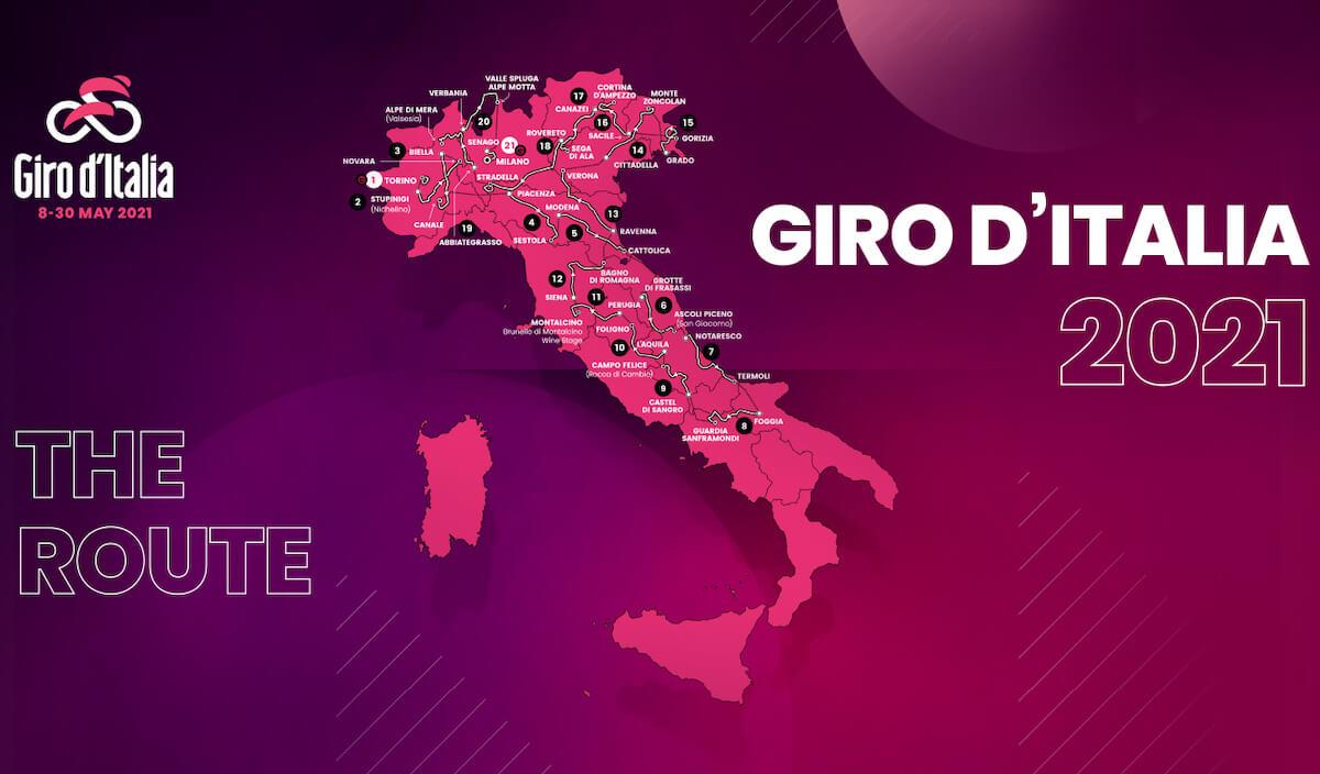 Giro d'Italia 2021 - schema tappe del giro 2021
