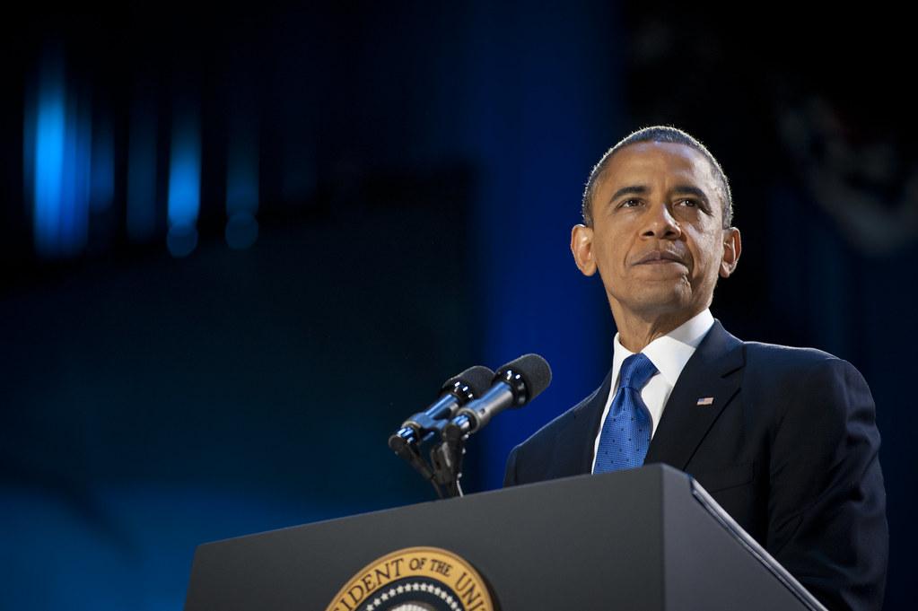 Obama durante un comizio