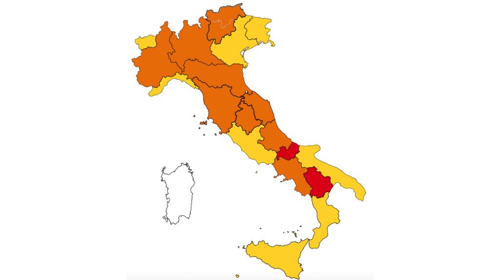 Primo lockdown in Italia - Mappa zone Italia marzo 2021