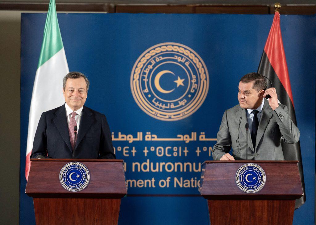 Draghi in visita a Tripoli con  il Primo Ministro libico Abdelhamid Dabaiba